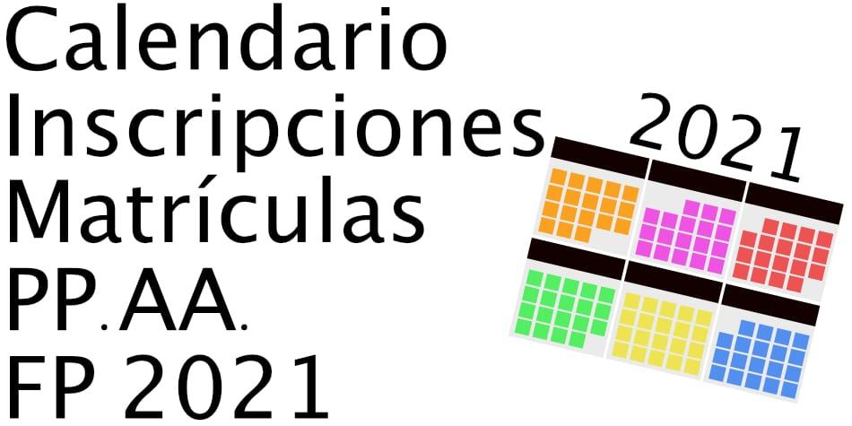 Calendario de Fechas de Matriculas de Formación Profesional 2021